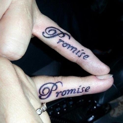 Promise Best Friend Tattoos on Fingers