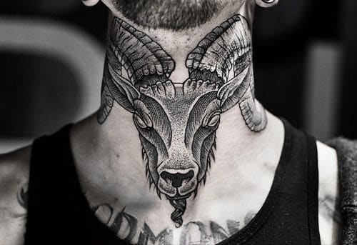 Ram Head Neck Tattoo