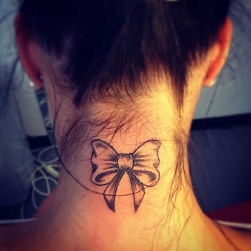 Ribbon Neck Tattoo