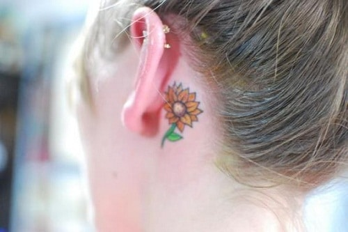 Small Sunflower Tattoo on Back of Ear