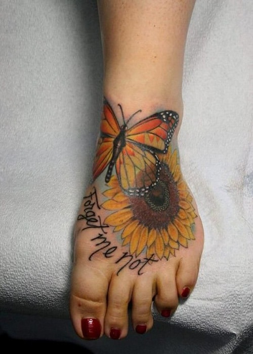 Small Sunflower with Butterfly on Foot Tattoo