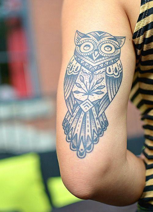 Animal Tribal Owl Tattoo