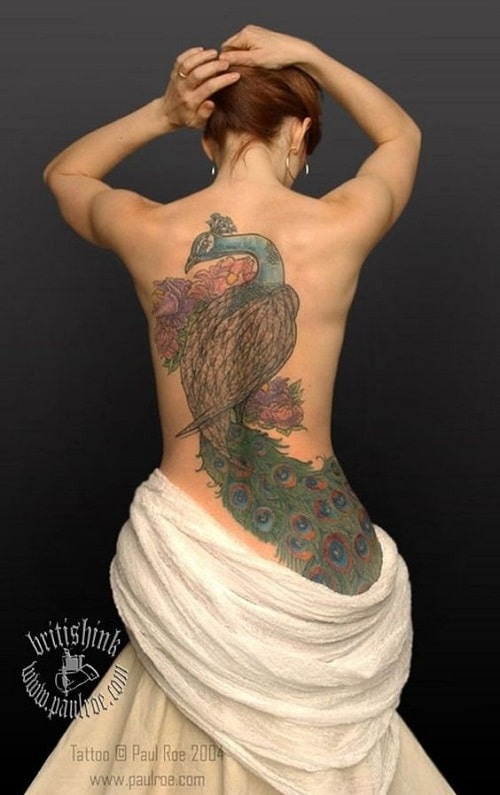 Beautiful Peacock Tattoo On Back