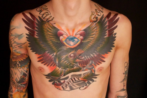 Bird Chest Tattoo