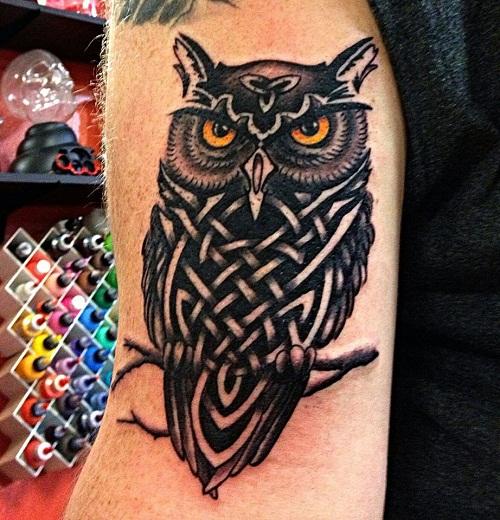 Black Ink Celtic Owl Tattoo