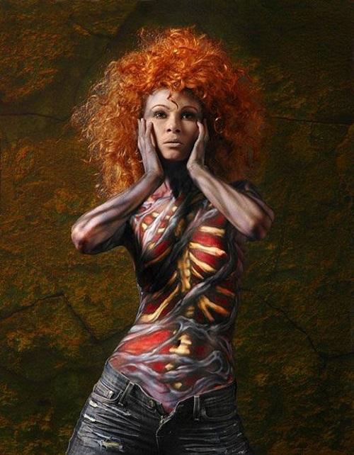 Bloody Rib Body Paint Models