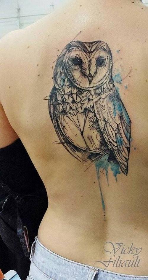 Blue Color Splash Geometric Owl Tattoo