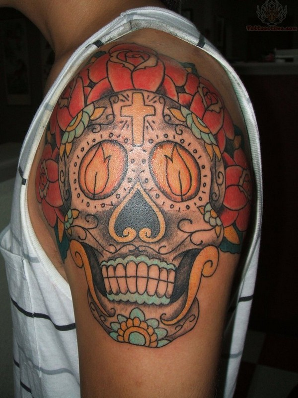 Burning Candles And Sugar Skull Tattoo On Shoulder