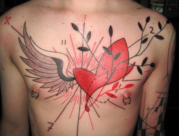 Chest Heart Tattoo