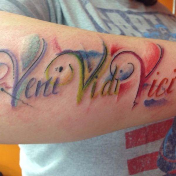 Colorful Veni Vidi Vici tattoo