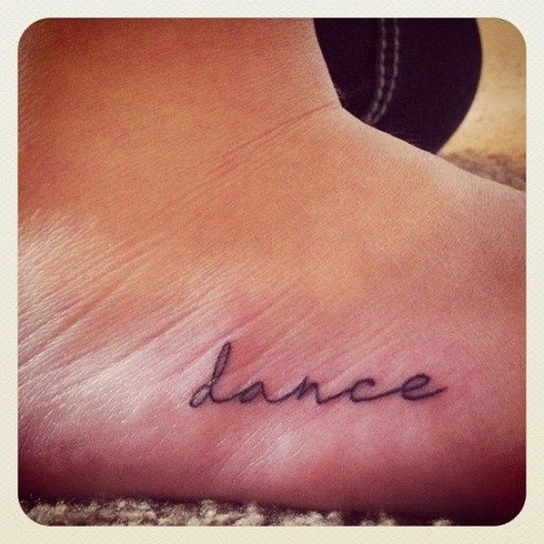 Cursive Dance Foot Tattoo