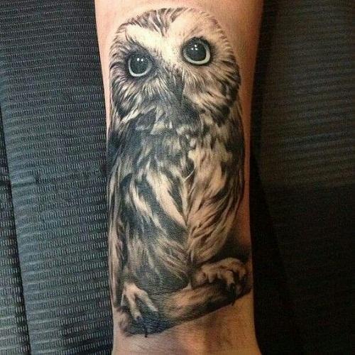 Cute 3D Owl Tattoo