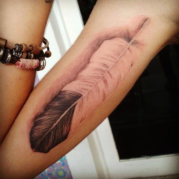 Eagle feather arm tattoo - photo#10