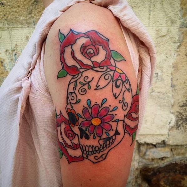 Female Sugar Skull Tattoo