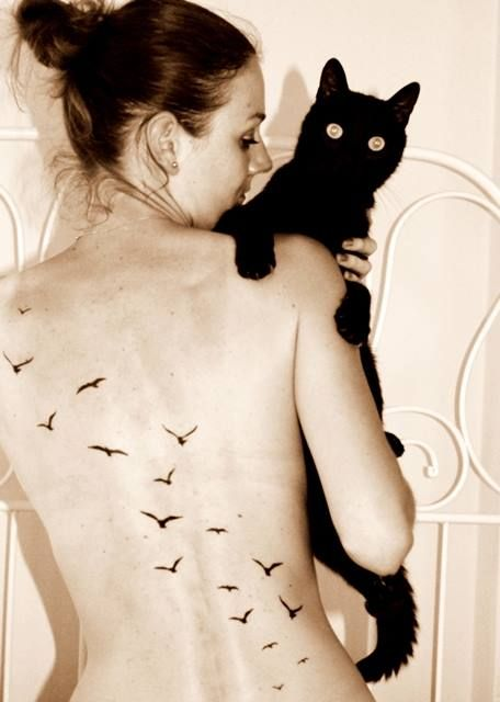 Flying Doves On Woman Back