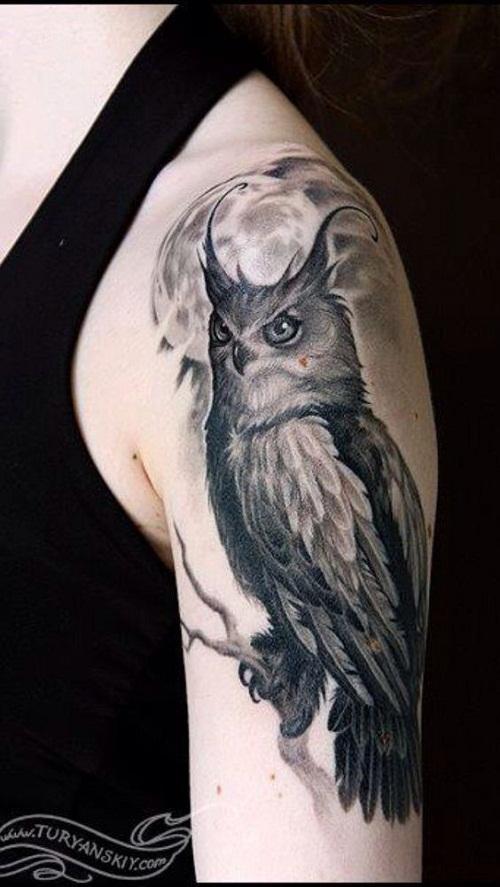 Тату сова мужские плечо