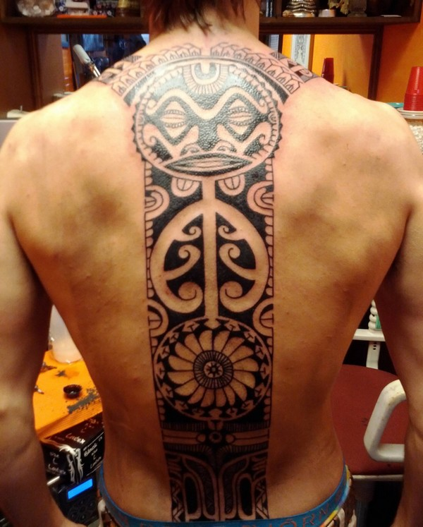 Full Spine Polynesian Aztec Tattoo