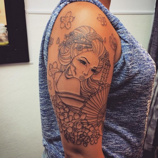 Geisha Tattoo Outline