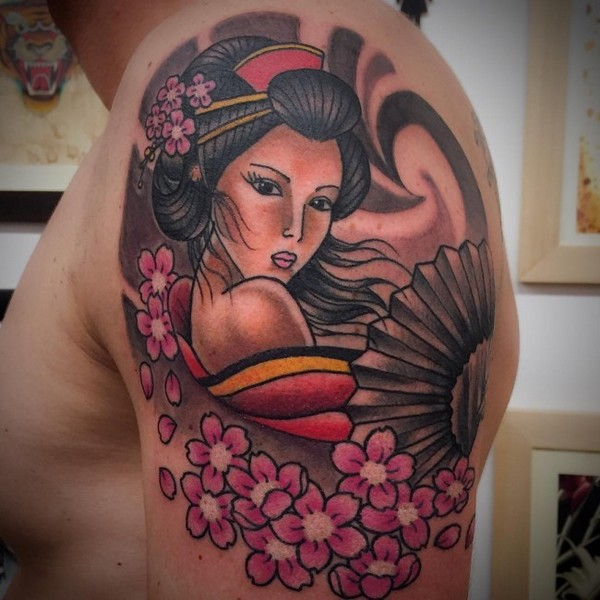 Geisha Tattoo With Flowers