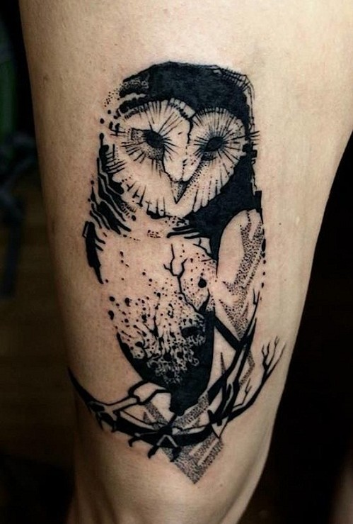 Geometric owl tattoo - photo#5