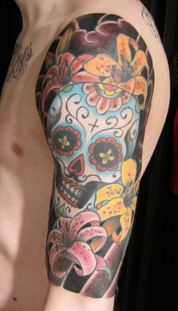 Half Sleeve Sugar Skull N Flowers Tattoo Design