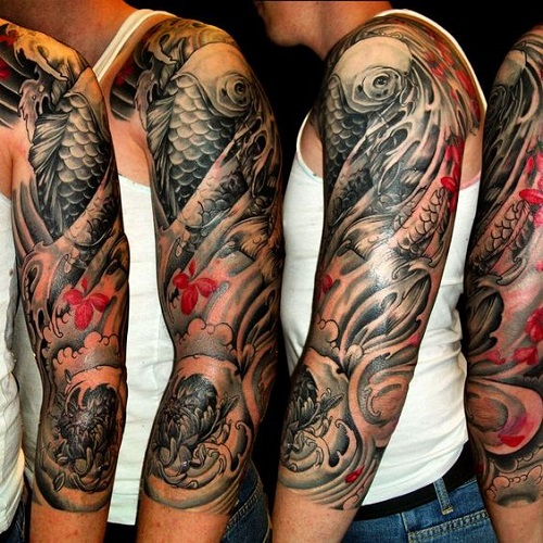 Koi Fish Tattoo Sleeve with Flowers