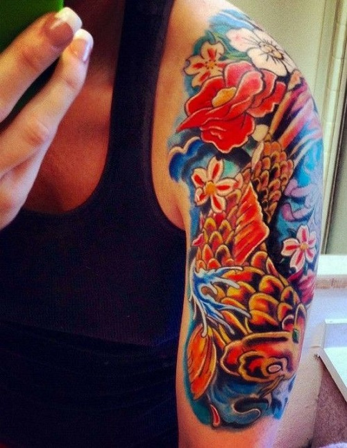Koi Tattoo with Beautiful Flowers