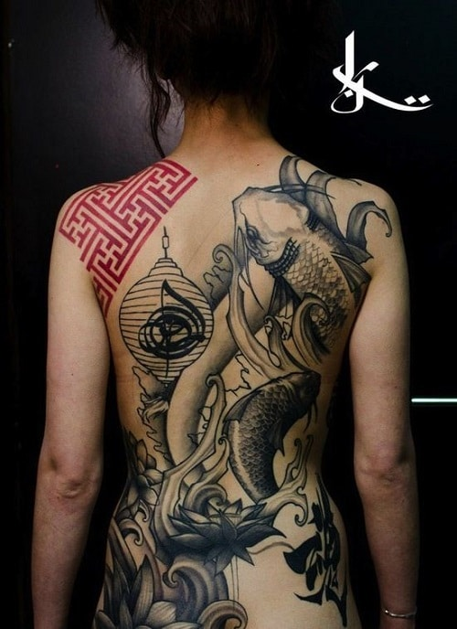 Koi Tattoo with Japanese Lantern