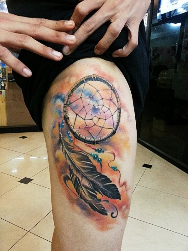 Native American Thigh Tattoo