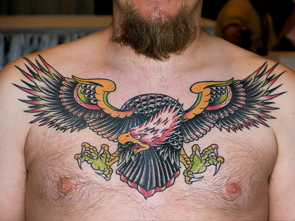 Nice Eagle Chest Tattoo