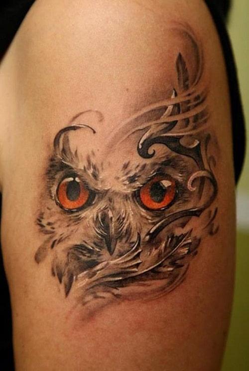Owl Face Tattoo
