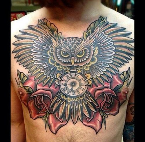 Owl Holding a Clock Tattoo