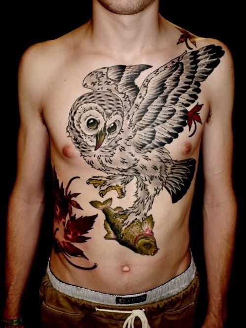 Owl Holding a Fish Tattoo