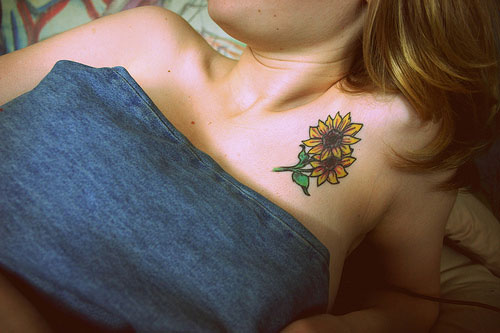 Pair of Sunflower Tattoo on Chest