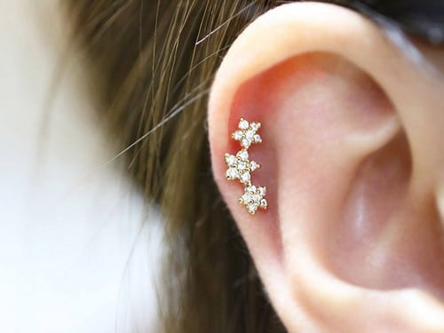 Gold Dinosaur Helix Earring