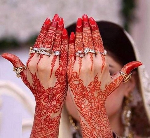 Red Bridal Mehndi Designs