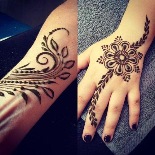 Flowers and Leaves Arabic Mehndi Designs
