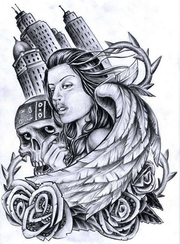 Skull And Girl Tattoo Design