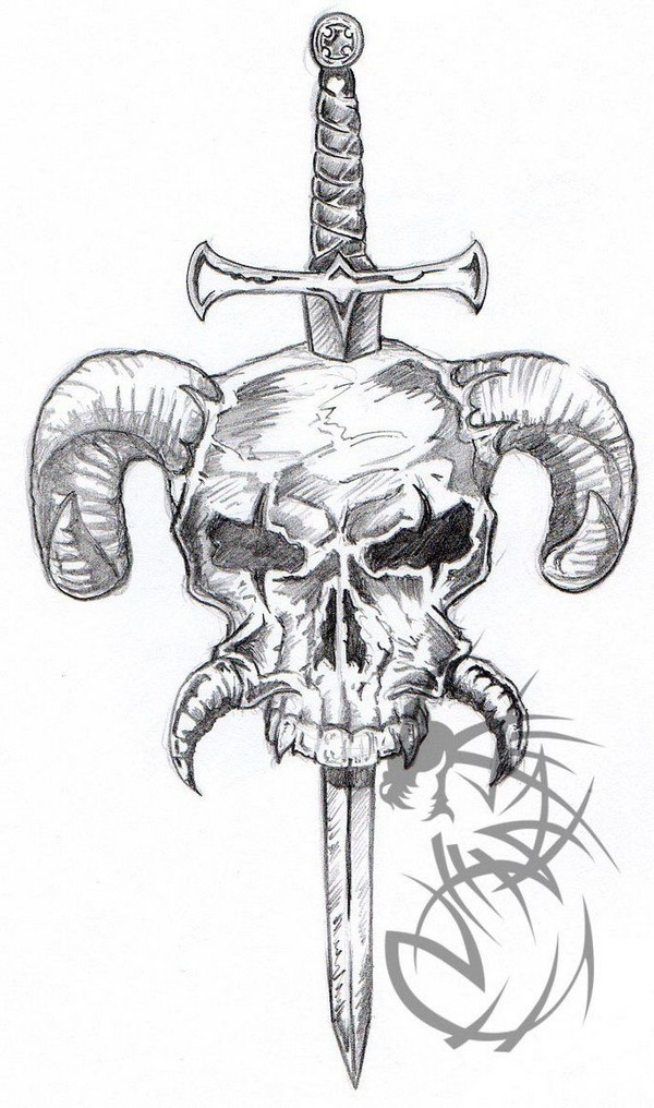 Sword In Horned Skull Tattoo Design