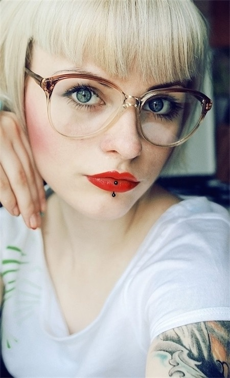Vertical Labret Piercings Hipster