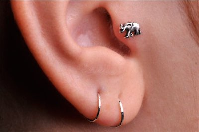 Handcrafted Sterling Silver Elephant Tragus Ring