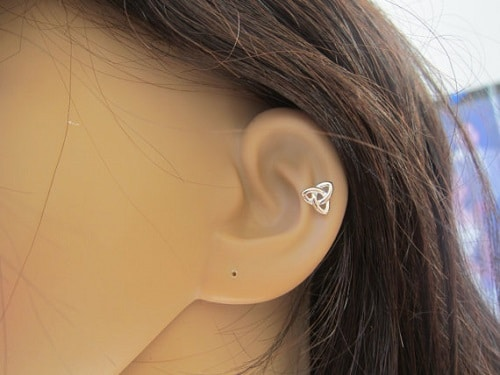 Sterling Silver Celtic Knot Helix Earring