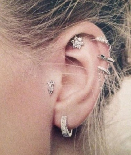 Three Outer Conch Piercing