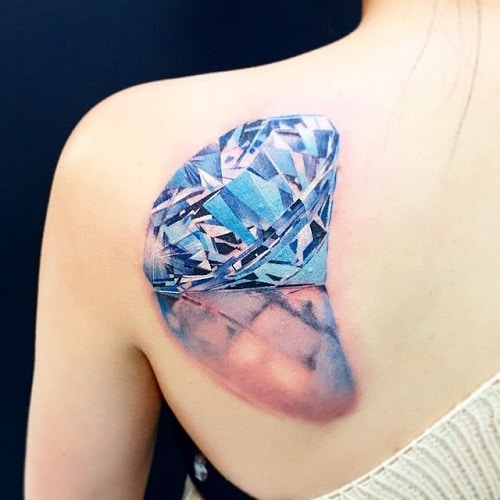 3D Blue with Shadow Diamond Tattoo