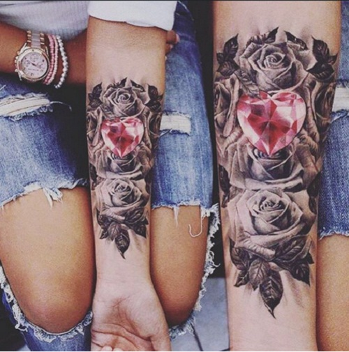 Crystal Heart Cute Couples Tattoos