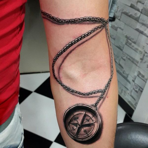 3D Compass Tattoo