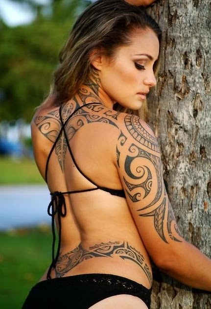 Back and Arm Tribal Tattoos for Women
