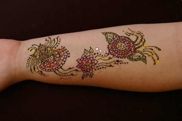 Colored Henna Flowers Tattoo