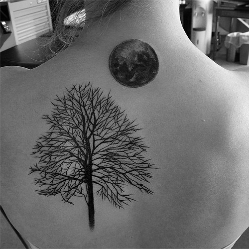 Dried Tree with Moon Tattoos