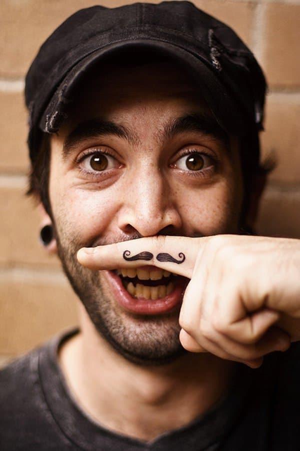 Finger Moustache Tattoo